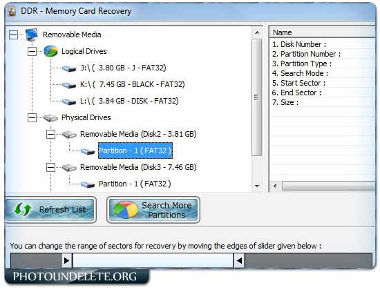 Undelete SD Memory card screen shot